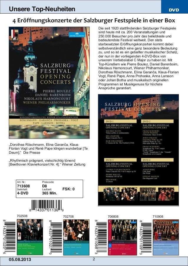 Blu-ray, DVD- und CD-Neuheiten August 2013 Nr. 1 (Im Vertrieb der NAXOS Deutschland GmbH) Slide 2