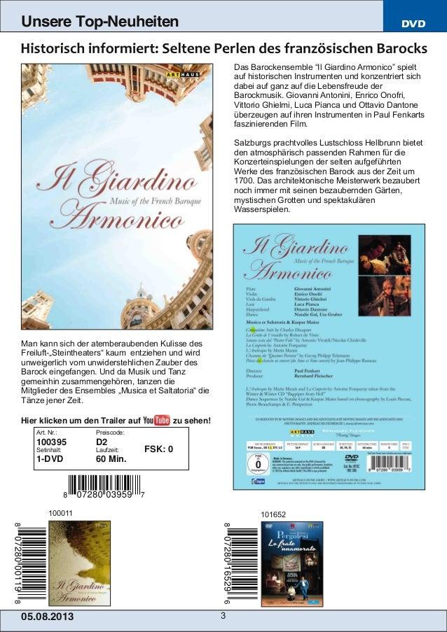 Blu-ray, DVD- und CD-Neuheiten August 2013 Nr. 1 (Im Vertrieb der NAXOS Deutschland GmbH) Slide 3