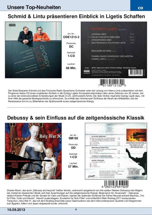 """CD 16.09.2013 4 Unsere Top-Neuheiten Dieses Album, das auch """"Debussy and beyond"""" heißen könnte, untersucht ausgehend von d..."""