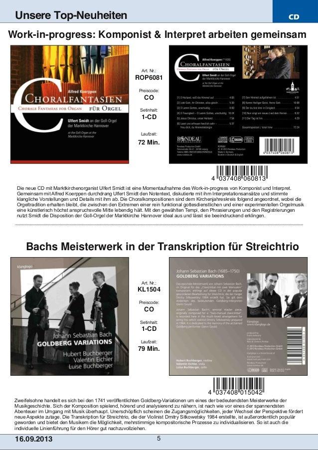 CD 16.09.2013 5 Unsere Top-Neuheiten Zweifelsohne handelt es sich bei den 1741 veröffentlichten GoldbergVariationen um ei...