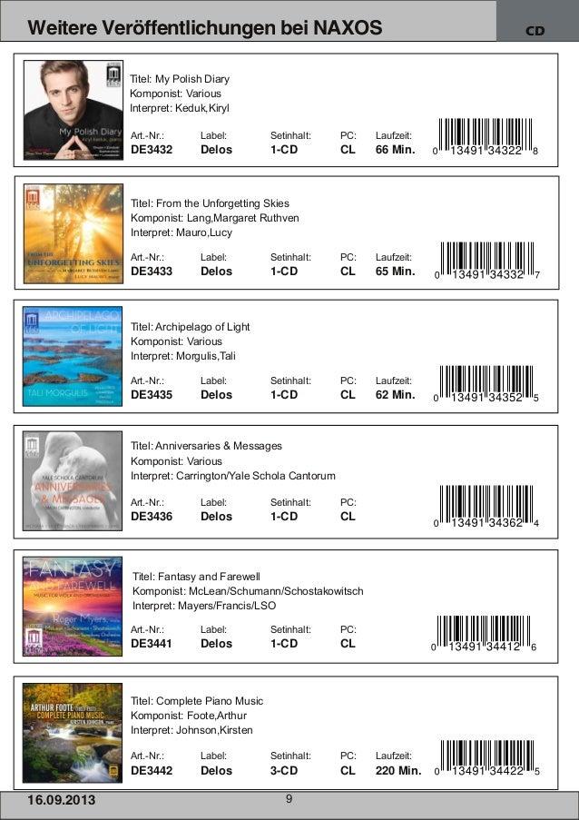 16.09.2013 9 Weitere Veröffentlichungen bei NAXOS CD Art.Nr.: Label: Setinhalt: PC: Laufzeit: DE3432 Delos 1CD CL 66 Min...