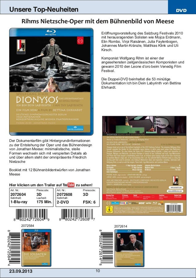 23.09.2013 10 Unsere Top-Neuheiten DVD Eröffnungsvorstellung des Salzburg Festivals 2010 mit herausragenden Solisten wie M...