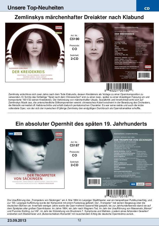 """CD 23.09.2013 12 Unsere Top-Neuheiten Die Uraufführung des """"Trompeters von Säckingen"""" am 4. Mai 1884 im Leipziger Stadtthe..."""