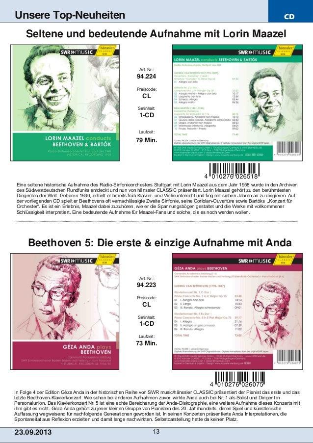 CD 23.09.2013 13 Unsere Top-Neuheiten In Folge 4 der Edition Géza Anda in der historischen Reihe von SWR music/hänssler CL...