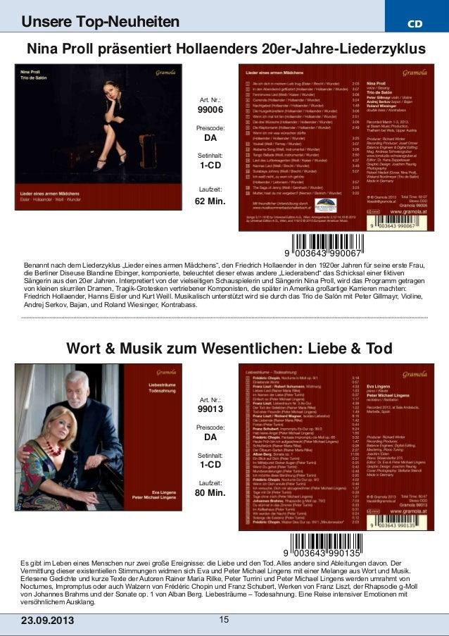 CD 23.09.2013 15 Unsere Top-Neuheiten Es gibt im Leben eines Menschen nur zwei große Ereignisse: die Liebe und den Tod. Al...