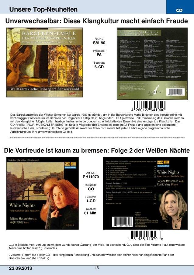 """CD 23.09.2013 16 Unsere Top-Neuheiten """"…die Stilsicherheit, verbunden mit dem wunderbaren """"Gesang"""" der Viola, ist besteche..."""