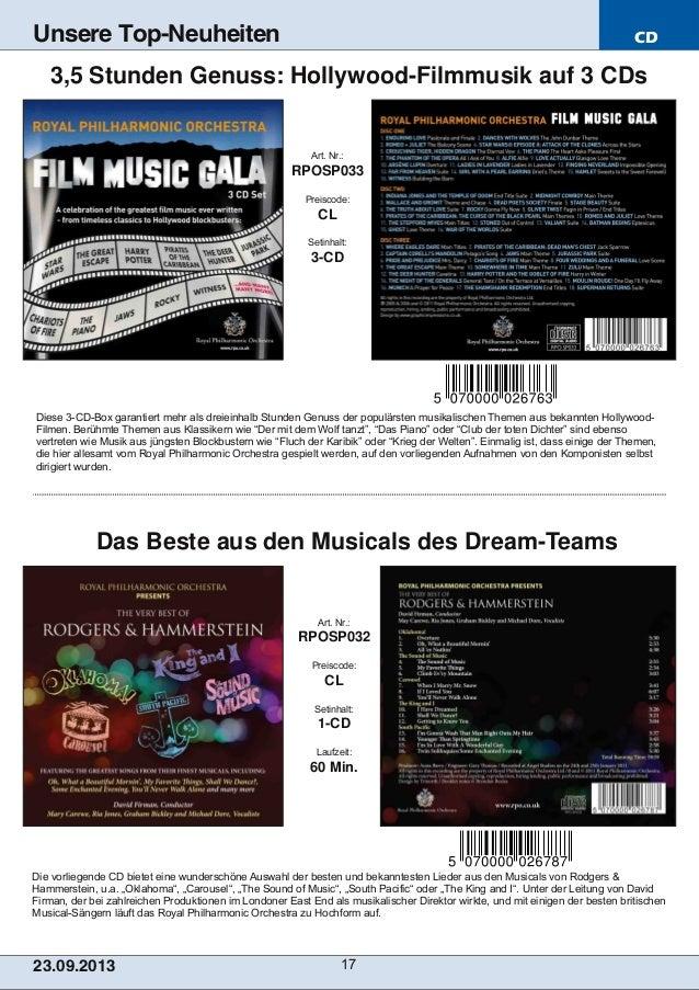 CD 23.09.2013 17 Unsere Top-Neuheiten Die vorliegende CD bietet eine wunderschöne Auswahl der besten und bekanntesten Lied...