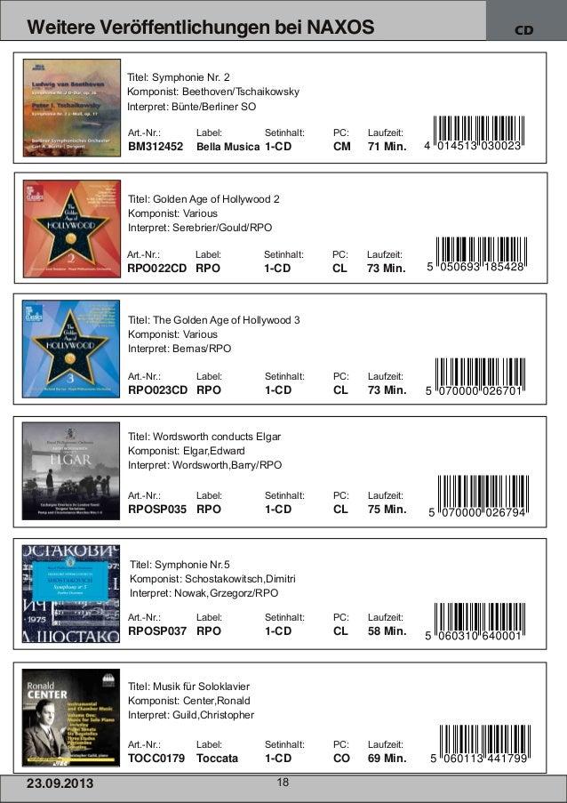 23.09.2013 18 Weitere Veröffentlichungen bei NAXOS CD Art.Nr.: Label: Setinhalt: PC: Laufzeit: BM312452 Bella Musica 1CD...
