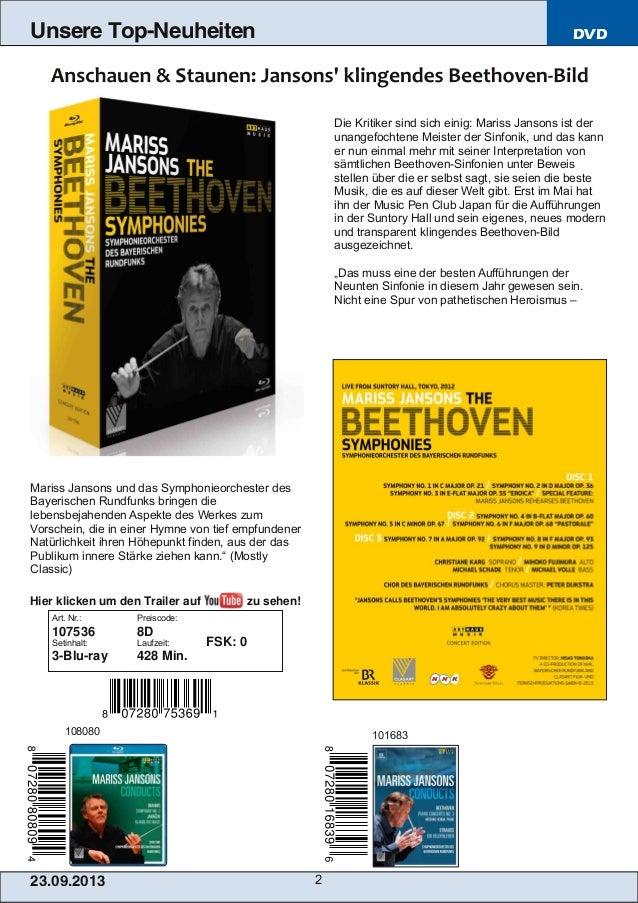 23.09.2013 2 Unsere Top-Neuheiten DVD Die Kritiker sind sich einig: Mariss Jansons ist der unangefochtene Meister der Sinf...