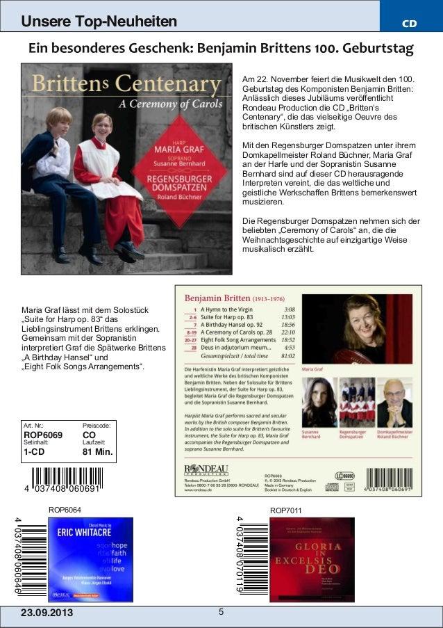 23.09.2013 5 Unsere Top-Neuheiten CD Am 22. November feiert die Musikwelt den 100. Geburtstag des Komponisten Benjamin Bri...