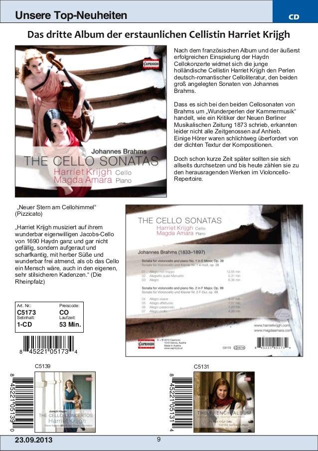 23.09.2013 9 Unsere Top-Neuheiten CD Nach dem französischen Album und der äußerst erfolgreichen Einspielung der Haydn Cell...