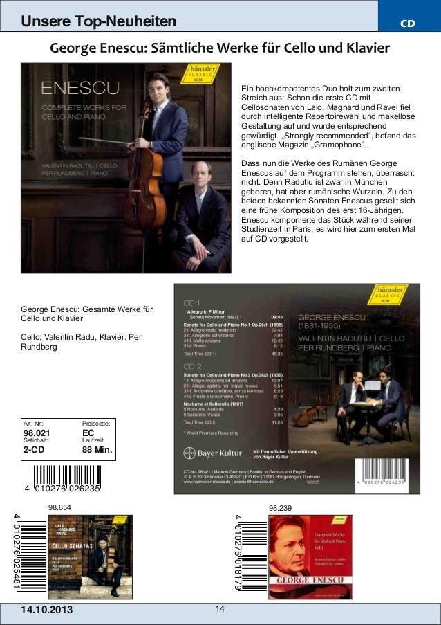 Unsere Top-Neuheiten  CD  Ein hochkompetentes Duo holt zum zweiten Streich aus: Schon die erste CD mit Cellosonaten von La...