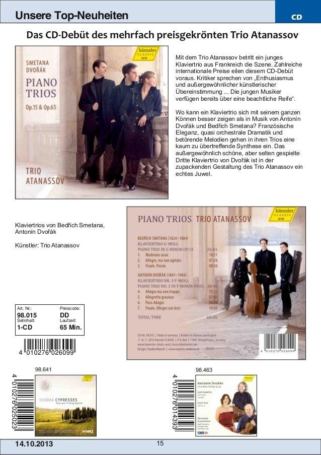 Unsere Top-Neuheiten  CD  Mit dem Trio Atanassov betritt ein junges Klaviertrio aus Frankreich die Szene. Zahlreiche inter...