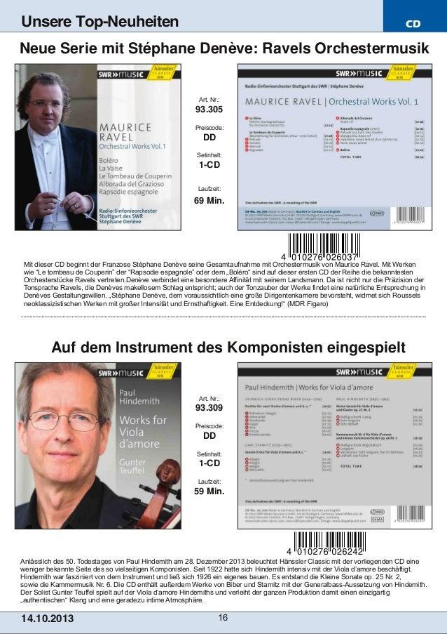 Unsere Top-Neuheiten  CD  Neue Serie mit Stéphane Denève: Ravels Orchestermusik  Art. Nr.:  93.305 Preiscode:  DD Setinhal...