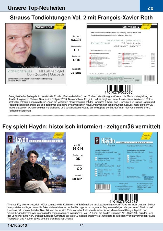 Unsere Top-Neuheiten  CD  Strauss Tondichtungen Vol. 2 mit FrançoisXavier Roth  Art. Nr.:  93.304 Preiscode:  DD Setinhal...