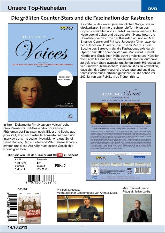 Unsere Top-Neuheiten  DVD  Kastraten – das waren jene männlichen Sänger, die mit glockenklarer Stimme unschwer die Tonhöhe...