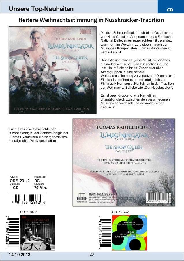 """Unsere Top-Neuheiten  CD  Mit der """"Schneekönigin"""" nach einer Geschichte von Hans Christian Andersen hat das Finnische Nati..."""