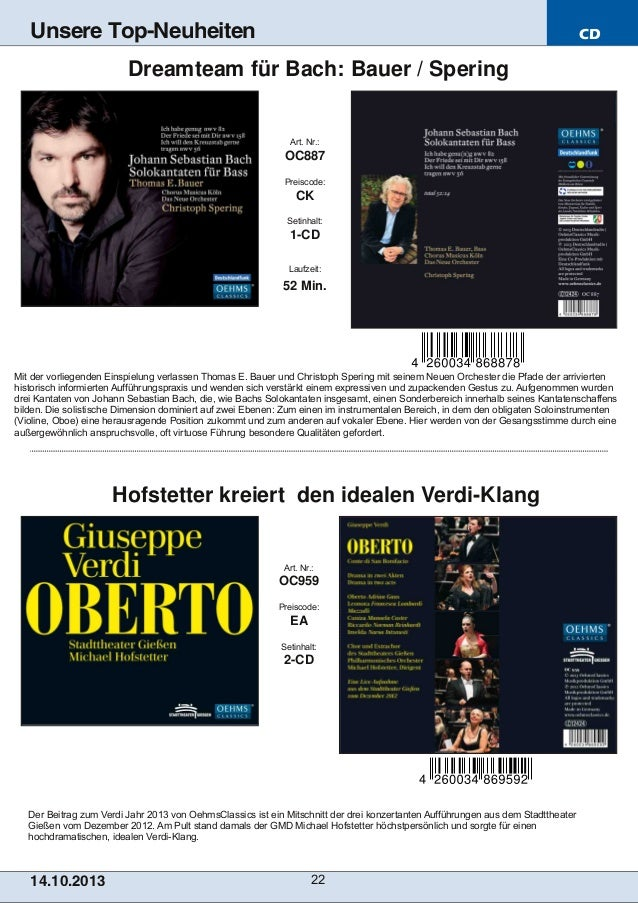 Unsere Top-Neuheiten  CD  Dreamteam für Bach: Bauer / Spering  Art. Nr.:  OC887 Preiscode:  CK Setinhalt:  1CD Laufzeit: ...