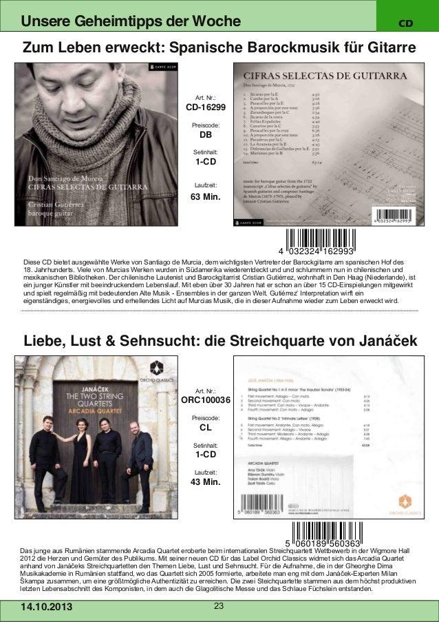 Unsere Geheimtipps der Woche  CD  Zum Leben erweckt: Spanische Barockmusik für Gitarre  Art. Nr.:  CD16299 Preiscode:  DB...