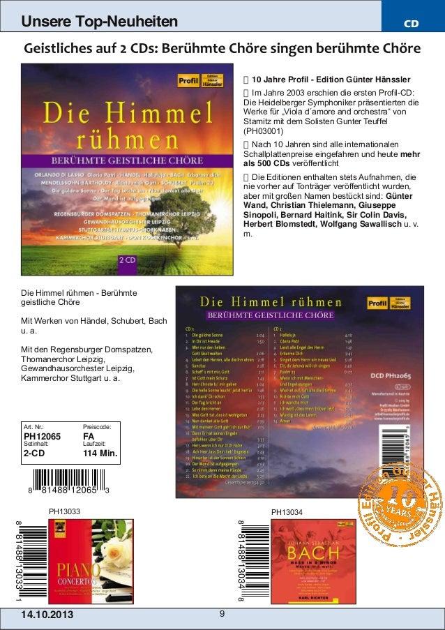 Unsere Top-Neuheiten  CD   10 Jahre Profil  Edition Günter Hänssler  Im Jahre 2003 erschien die ersten ProfilCD: Die H...