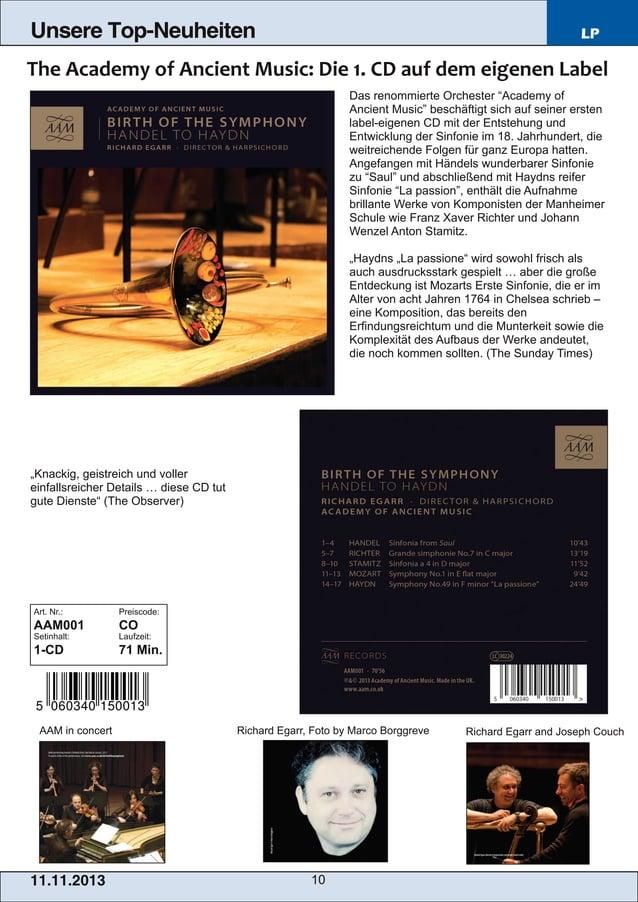 """Unsere Top-Neuheiten  LP  Das renommierte Orchester """"Academy of Ancient Music"""" beschäftigt sich auf seiner ersten labelei..."""