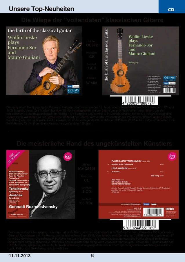 """Unsere Top-Neuheiten  CD  Die Wiege der """"vollendeten"""" klassischen Gitarre  Art. Nr.:  OC872 Preiscode:  CK Setinhalt:  1C..."""