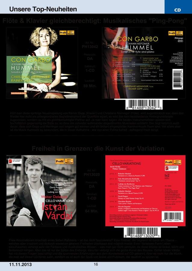 """Unsere Top-Neuheiten  CD  Flöte & Klavier gleichberechtigt: Musikalisches """"PingPong""""  Art. Nr.:  PH13042 Preiscode:  DA S..."""