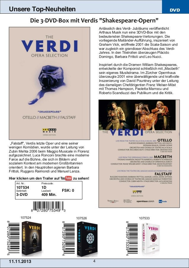 Unsere Top-Neuheiten  DVD  Anlässlich des Verdi Jubiläums veröffentlicht Arthaus Musik nun eine 3DVDBox mit den bedeuten...