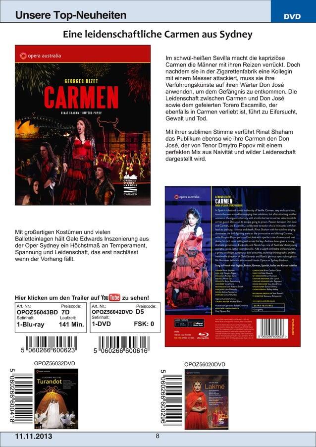 Unsere Top-Neuheiten  DVD  Im schwülheißen Sevilla macht die kapriziöse Carmen die Männer mit ihren Reizen verrückt. Doch...