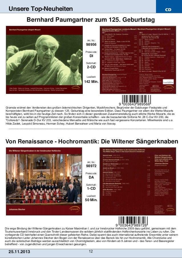Unsere Top-Neuheiten  CD  Bernhard Paumgartner zum 125. Geburtstag  Art. Nr.:  98956 Preiscode:  DI Setinhalt:  2CD Laufz...