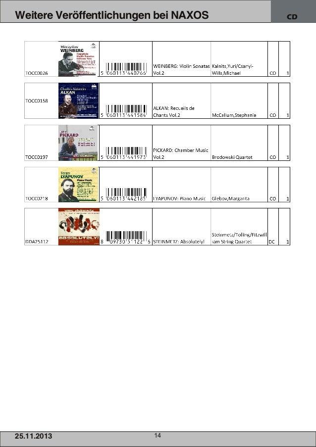 Weitere Veröffentlichungen bei NAXOS  25.1 1 .201 3  14  CD