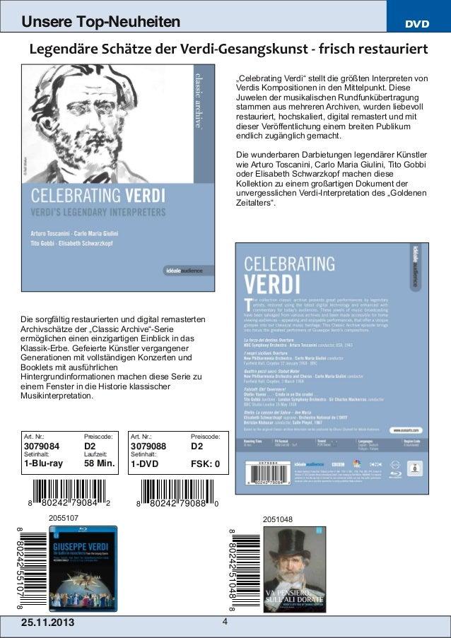 """Unsere Top-Neuheiten  DVD  """"Celebrating Verdi"""" stellt die größten Interpreten von Verdis Kompositionen in den Mittelpunkt...."""