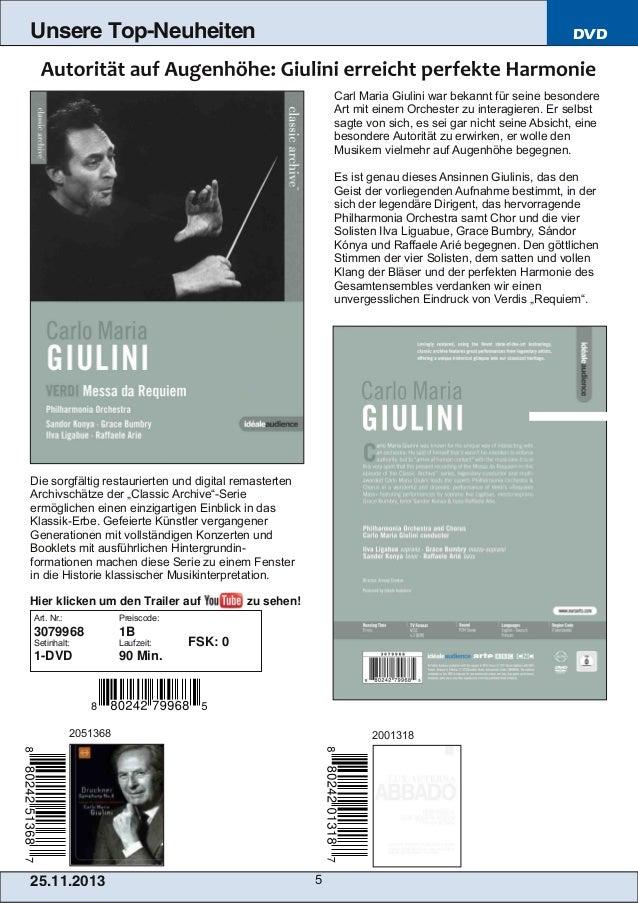 Unsere Top-Neuheiten  DVD  Carl Maria Giulini war bekannt für seine besondere Art mit einem Orchester zu interagieren. Er ...