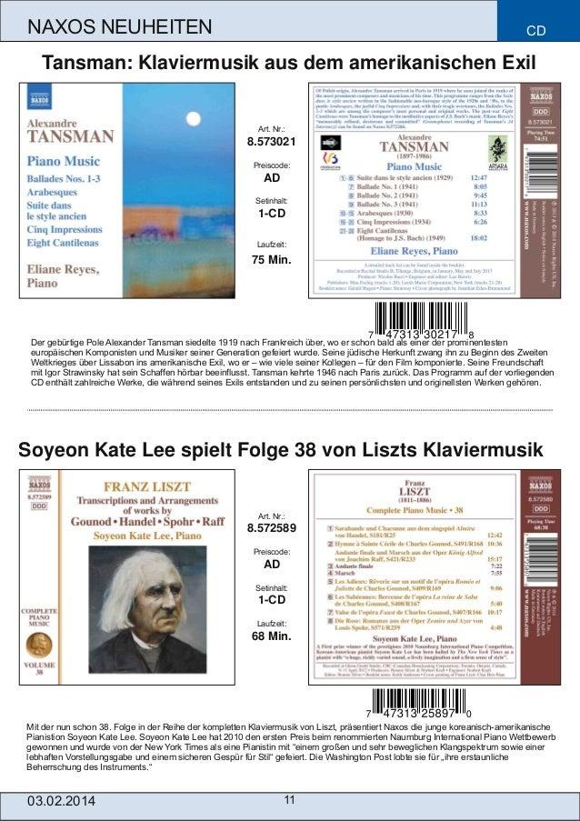 NAXOS NEUHEITEN  CD  Tansman: Klaviermusik aus dem amerikanischen Exil  Art. Nr.:  8.573021 Preiscode:  AD Setinhalt:  1C...