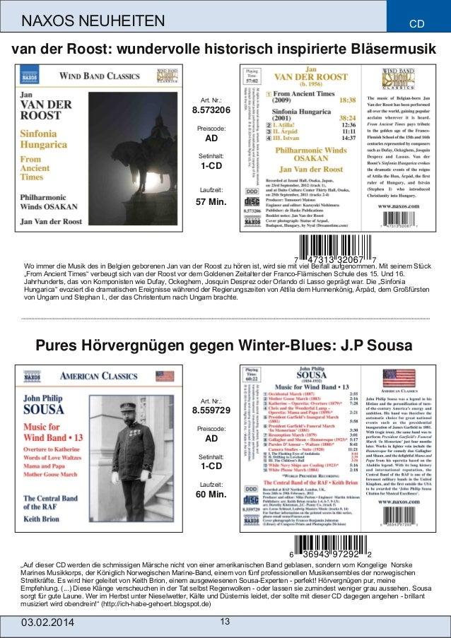 NAXOS NEUHEITEN  CD  van der Roost: wundervolle historisch inspirierte Bläsermusik  Art. Nr.:  8.573206 Preiscode:  AD Set...