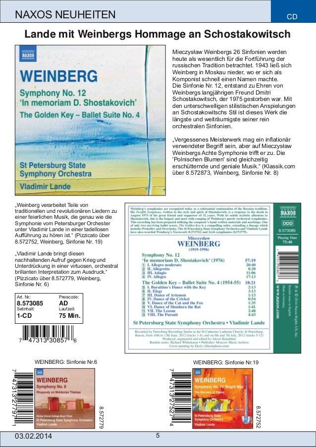 NAXOS NEUHEITEN  CD  Lande mit Weinbergs Hommage an Schostakowitsch Mieczysław Weinbergs 26 Sinfonien werden heute als wes...