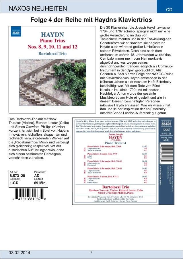 NAXOS NEUHEITEN  CD  Folge 4 der Reihe mit Haydns Klaviertrios Die 30 Klaviertrios, die Joseph Haydn zwischen 1784 und 179...