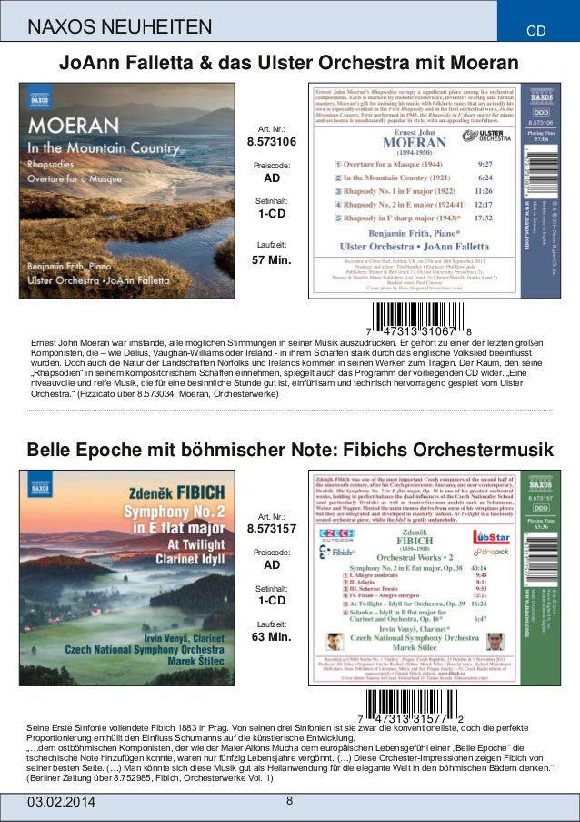 NAXOS NEUHEITEN  CD  JoAnn Falletta & das Ulster Orchestra mit Moeran  Art. Nr.:  8.573106 Preiscode:  AD Setinhalt:  1CD...