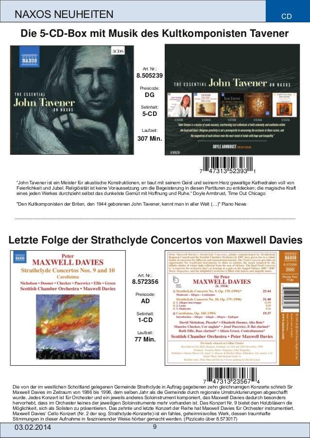 NAXOS NEUHEITEN  CD  Die 5CDBox mit Musik des Kultkomponisten Tavener  Art. Nr.:  8.505239 Preiscode:  DG Setinhalt:  5...