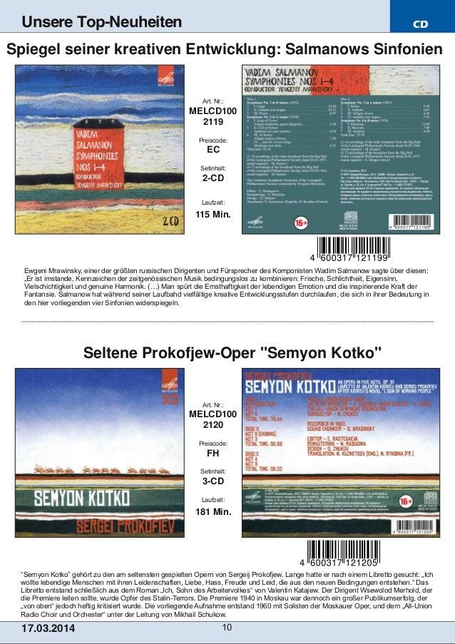 """CD 17.03.2014 10 Unsere Top-Neuheiten """"Semyon Kotko"""" gehört zu den am seltensten gespielten Opern von Sergeij Prokofjew. L..."""