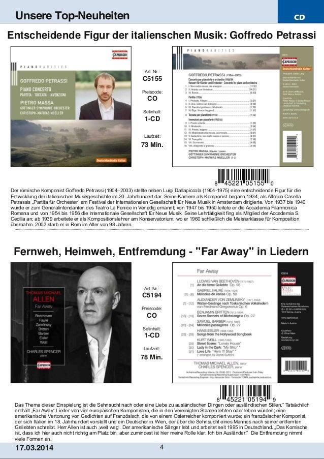 CD 17.03.2014 4 Unsere Top-Neuheiten Das Thema dieser Einspielung ist die Sehnsucht nach oder eine Liebe zu ausländischen ...