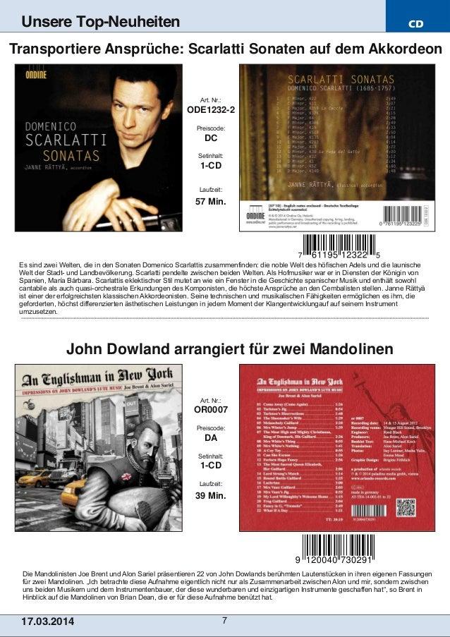 CD 17.03.2014 7 Unsere Top-Neuheiten Die Mandolinisten Joe Brent und Alon Sariel präsentieren 22 von John Dowlands berühmt...