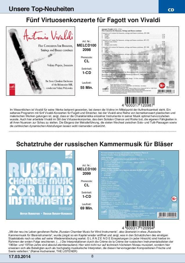 """CD 17.03.2014 8 Unsere Top-Neuheiten """"Mit der neu ins Leben gerufenen Reihe """"Russian Chamber Music for Wind Instruments"""", ..."""