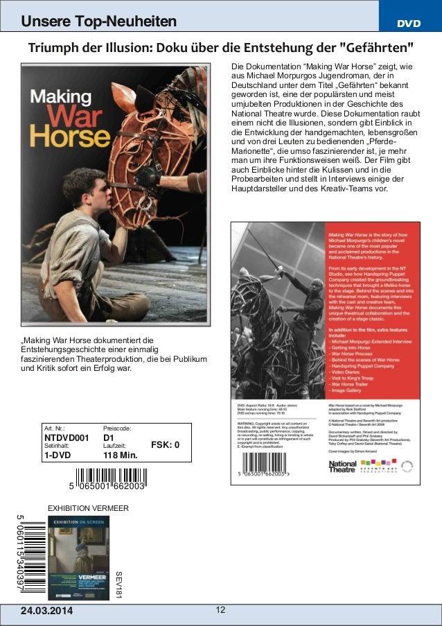 """24.03.2014 12 Unsere Top-Neuheiten DVD Die Dokumentation """"Making War Horse"""" zeigt, wie aus Michael Morpurgos Jugendroman, ..."""