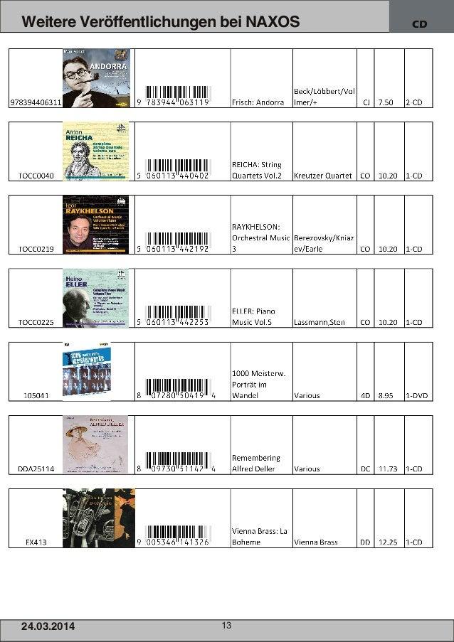 24.03.2014 13 Weitere Veröffentlichungen bei NAXOS CD