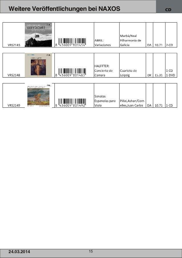 24.03.2014 15 Weitere Veröffentlichungen bei NAXOS CD