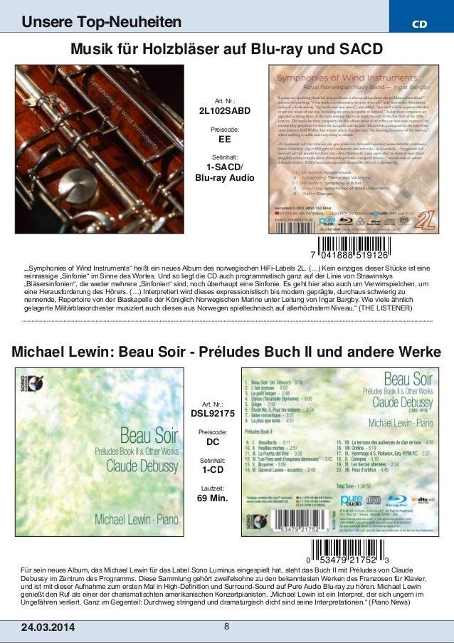 CD 24.03.2014 8 Unsere Top-Neuheiten Für sein neues Album, das Michael Lewin für das Label Sono Luminus eingespielt hat, s...