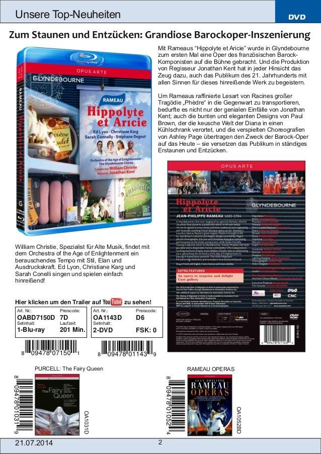 """21.07.2014 2 Unsere TopNeuheiten DVD Mit Rameaus """"Hippolyte et Aricie"""" wurde in Glyndebourne zum ersten Mal eine Oper des..."""