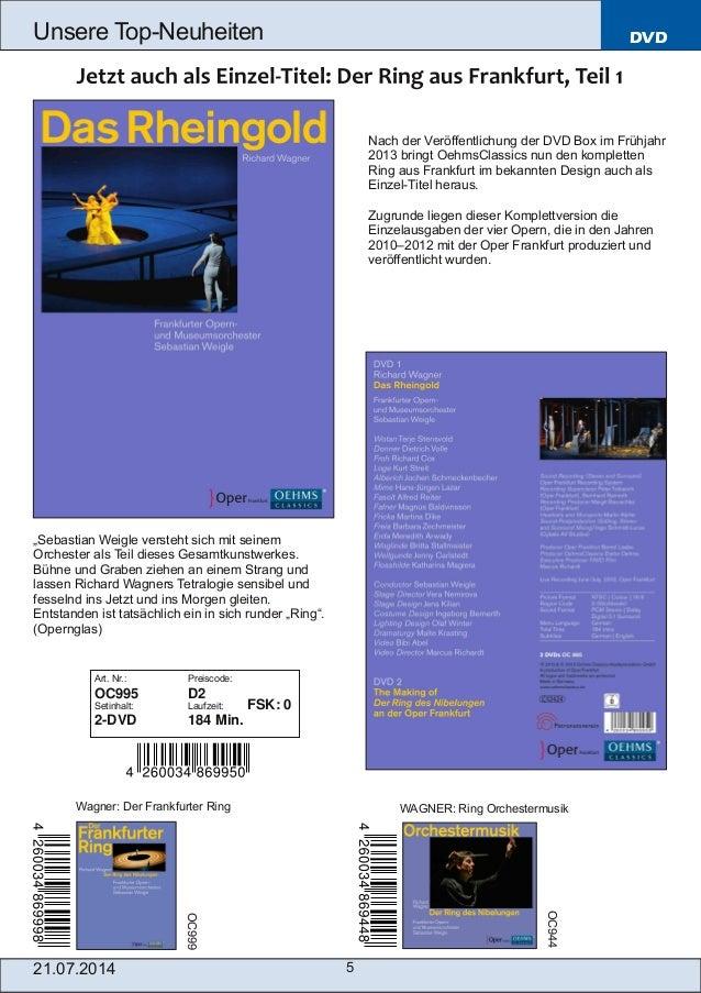 21.07.2014 5 Unsere TopNeuheiten DVD Nach der Veröffentlichung der DVD Box im Frühjahr 2013 bringt OehmsClassics nun den ...