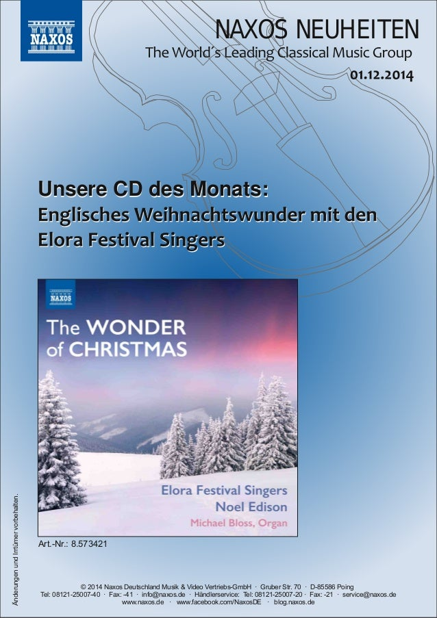NAXOS NEUHEITEN  UUnnsseerree CCDD ddeess MMoonnaattss::  © 2014 Naxos Deutschland Musik & Video VertriebsGmbH  · Gruber ...